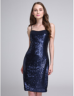 2017 Lanting Bride® Knee-length Sequined Sparkle & Shine Bridesmaid Dress - Spaghetti Straps with Sequins