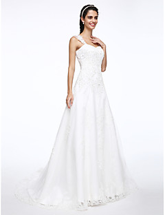 A-line Wedding Dress Court Train Straps Satin / Tulle with Appliques / Beading