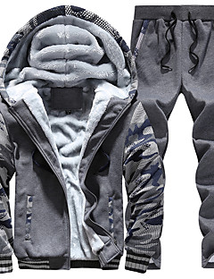 Masculino Tamanhos Grandes activewear Set Moda de Rua Retalhos Forro de Lã Algodão / Poliéster Micro-Elástico Manga Longa Outono / Inverno