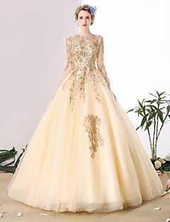 Ball Gown Wedding Dress Wedding Dress in Color Cathedral Train Scoop Tulle with Beading Lace