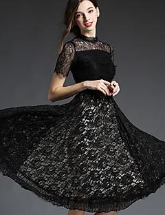 Damen Swing Kleid-Ausgehen Anspruchsvoll Solide Rundhalsausschnitt Knielang Kurzarm Polyester Herbst Hohe Hüfthöhe Unelastisch Mittel