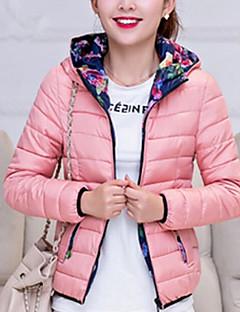 Пальто Простое Обычная На подкладке Женский,Однотонный На каждый день Полиэстер Полиэстер,Длинный рукав Капюшон Розовый / Красный / Черный