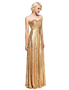 2017 Lanting Bride® Floor-length Sequined Sparkle & Shine Bridesmaid Dress - Sheath / Column Sweetheart with Sequins