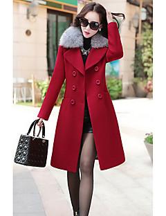 Damen Solide Street Schick Ausgehen / Urlaub Mantel,Winter Asymmetrisch Langarm Rosa / Rot Mittel Polyester
