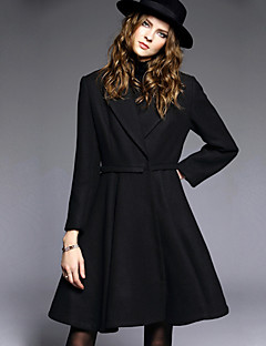 AGD Women's Casual/Daily Vintage Trench CoatSolid Notch Lapel Long Sleeve Winter Black Wool / Polyester Medium