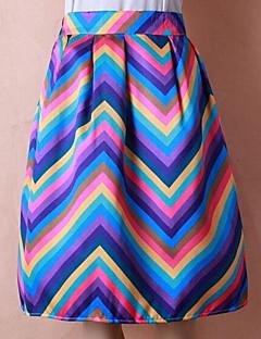 A-lijn Rokken,Dames Regenboog Hoge taille Casual/Dagelijks Knielengte Rits Polyester Micro-elastisch Herfst / Winter
