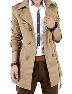 Men's  British Style Leisure Slim Long Sleeve Long Trench coat , Pure