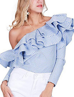Women's Going out Party/Cocktail Sexy Punk & Gothic All Seasons Shirt,Striped Off Shoulder Long Sleeve Blue Rayon Thin