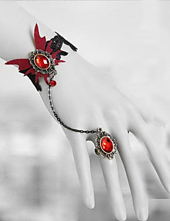 Lolita Jewelry Gothic Lolita Vampire Aristocrat Red Butterfly Lolita Accessories Set Headpiece/Necklace/Bracelet/Bangle/Earring Lace For Men / Women