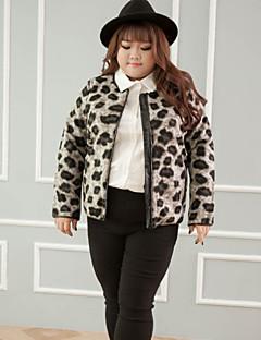 Dames Vintage Winter Jack,Casual/Dagelijks / Grote maten Strakke ronde hals-Lange mouw Bruin Luipaard Medium Polyester