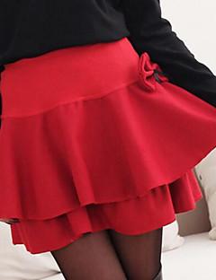 Mujer Faldas,Línea A Un Color Tiro Alto Casual/Diario Sobre la Rodilla Cremallera Poliéster Micro-elástica Otoño / Invierno