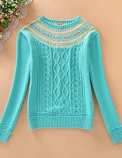 Court Pullover Femme Décontracté / Quotidien simple,Imprimé Bleu / Rose / Orange Col Arrondi Manches Longues Coton Automne Moyen