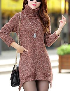 Damen Standard Pullover-Lässig/Alltäglich Einfach / Street Schick Solide Rot / Grau / Grün Rollkragen Langarm Polyester Herbst / Winter
