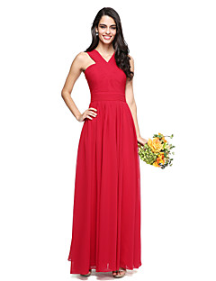 2017 Lanting Bride® Floor-length Chiffon Elegant Bridesmaid Dress - A-line V-neck with Criss Cross