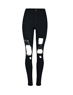 Dames Skinny Jeans Broek,Effen Casual/Dagelijks Street chic Hoge taille Knoop Polyester Rekbaar Herfst / Winter