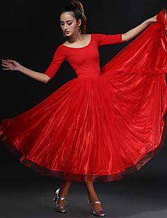 ריקודים סלוניים תלבושות בגדי ריקוד נשים ביצועים זהורית / Chinlon / טול Ruched 2 חלקים חצי שרוול טבעי חצאית / עליוןTop