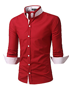 Men's Casual/Daily Simple All Seasons ShirtSolid Standing Collar Long Sleeve Red / White / Black Cotton Medium