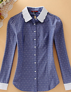 Women's Casual/Daily Simple Shirt,Polka Dot Shirt Collar Long Sleeve Blue Cotton