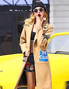 女性 カジュアル/普段着 冬 レタード コート,シンプル ピークドラペル ブラウン ウール / ポリエステル 長袖