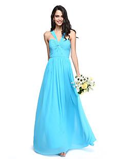 גזרת A עד הריצפה שיפון שמלה לשושבינה  עם פפיון(ים) בד בהצלבה סלסולים על ידי LAN TING BRIDE®