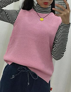 Women's Casual/Daily Simple Regular Vest,Solid Blue Pink White Black Brown Gray Green Yellow Round Neck Sleeveless Cotton Fall Winter