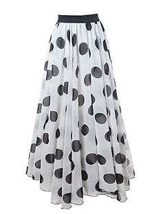 Swing Polka Dot Skirts,Going out Casual/Daily Beach High Rise Asymmetrical Elasticity Others Inelastic Fall