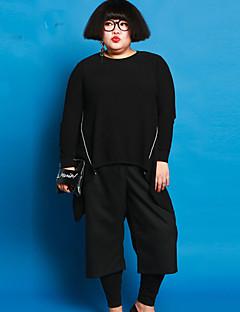 Damen Hose - Einfach Breites Bein Baumwolle / Elasthan Mikro-elastisch