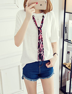 Mujer Simple Casual/Diario Verano Camiseta,Escote Redondo Un Color 3/4 Manga Poliéster Blanco / Negro Medio