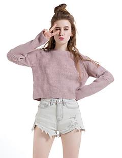 Normal Pullover Fritid/hverdag Enkel Dame,Ensfarget Rosa Rund hals Langermet Ull / Bomull / Polyester Vinter Tykk Mikroelastisk