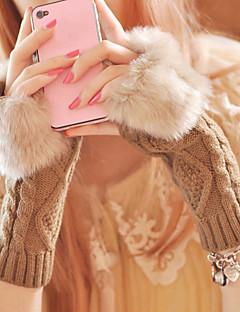 női nyúl prémes fél ujját csukló hossza, patchwork alkalmi téli