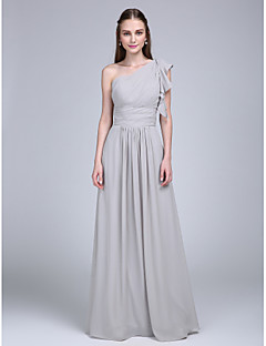 2017 Lanting Bride® Floor-length Chiffon Bridesmaid Dress - One Shoulder with Ruffles