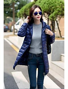 Casual/hétköznapi Egyszerű Kabát-Női Egyszínű Hosszú Sportos kabátok Pamut Polipropilén Kapucni Hosszú ujj Piros / Fekete / Lila
