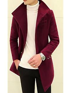 אחיד צווארון חולצה פשוטה יום יומי\קז'ואל / ליציאה בלשית גברים,כחול / אדום / שחור / אפור שרוול ארוך סתיו / חורף כותנה