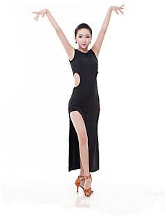 라틴 댄스 드레스 여성용 성능 우유 섬유 2 개 민소매 높음 드레스 반바지