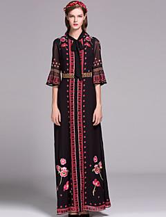 여성 스윙 드레스 캐쥬얼/데일리 보호 플로럴,라운드 넥 맥시 긴 소매 블루 / 블랙 그외 가을 중간 밑위 신축성 없음 중간