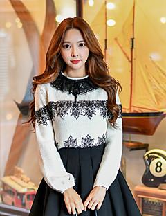 Damen Standard Pullover-Ausgehen Lässig/Alltäglich Urlaub Niedlich Street Schick Anspruchsvoll Einfarbig Patchwork Weiß Rundhalsausschnitt
