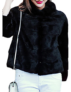 Feminino Casaco de Pêlo Casual Simples Inverno, Sólido Rosa / Preto / Cinza / Roxo Raiom Gola Alta-Manga Longa Grossa
