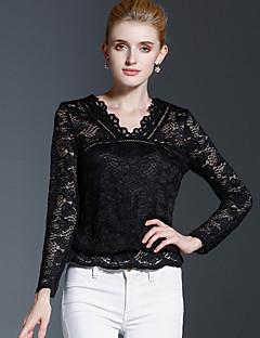 Damen Solide Einfach Lässig/Alltäglich T-shirt,V-Ausschnitt Herbst / Winter Langarm Schwarz Baumwolle / Nylon Mittel