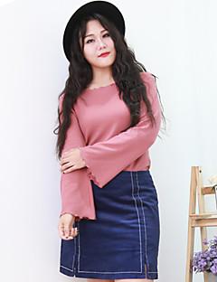 Dames Eenvoudig Overhemd,Uitgaan / Grote maten Effen Ronde hals Lange mouw Roze Katoen / Nylon