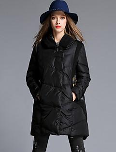 Casual/hétköznapi / Nagy méretek Egyszerű Kabát-Női Egyszínű Hosszú Kosaras Poliészter Polipropilén Kapucni Hosszú ujj Fekete
