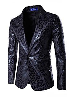 Herren Leopard Chinoiserie Lässig/Alltäglich Blazer,Gekerbtes Revers Frühling Herbst Lange Ärmel Standard Baumwolle Polyester