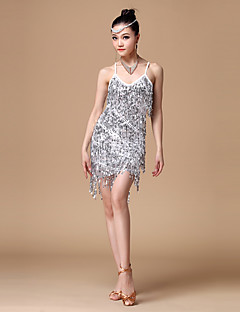 Latin Dance Outfits Women's Performance Polyester / Sequined Sequins / Tassel(s) 1 Piece Latin Dress