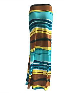 女性 スカート-ブランコ 虹色お出かけ / カジュアル/普段着 セクシー / ビンテージ ハイライズ Midi ジッパ- コットン マイクロ弾性 夏