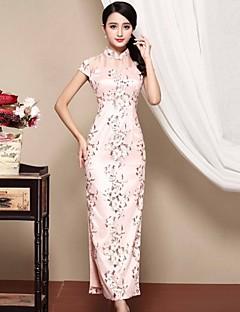 Damen Hülle Kleid-Lässig/Alltäglich Chinoiserie Jacquard Ständer Midi Kurzarm Rosa Polyester Herbst Mittlere Hüfthöhe Mikro-elastisch