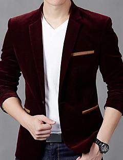 メンズ パーティー カジュアル/普段着ヴィンテージ ストリートファッション シャツカラー ソリッド コットン 長袖