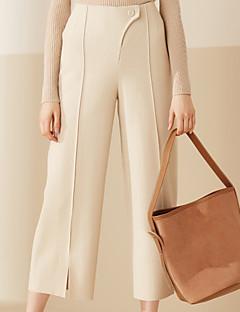 Damen Breites Bein Chinos Hose-Lässig/Alltäglich Einfach einfarbig Hohe Hüfthöhe Knopf Wolle Micro-elastisch Riemengurte / Sommer
