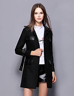 Dames Vintage Winter Jas,Uitgaan Overhemdkraag-Lange mouw Zwart Effen Dik Wol Acryl Polyester