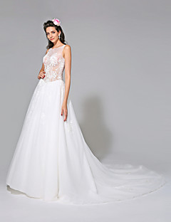 A-Line Jewel Neck Chapel Train Tulle Wedding Dress with Beading Appliques by LAN TING BRIDE®