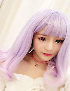 Sweet Lolita Color Gradient Curly Light Purple Lolita Wig 45 CM Cosplay Wigs For Women