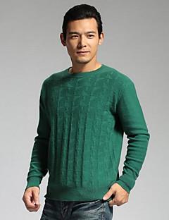 Masculino Padrão Pulôver,Casual Simples Sólido Azul / Verde Decote Redondo Manga Longa Lã / Algodão Outono / Inverno Média Micro-Elástica